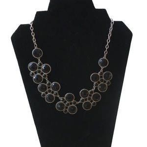 Cookie Lee Black Crystal Silver Tone Necklace